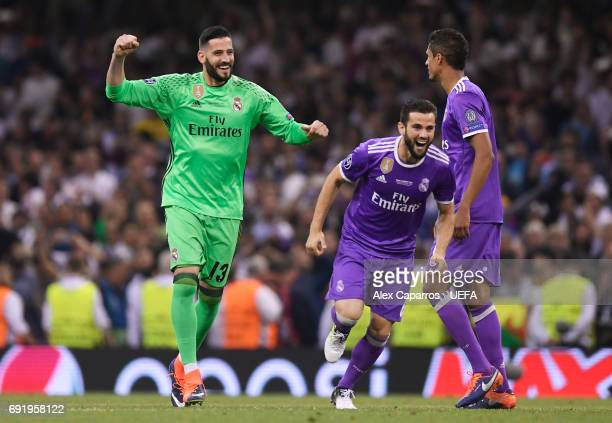 Francisco Casilla of Real Madrid and Nacho Fernandez of Real Madrid celebrate after the UEFA Champions League Final between Juventus and Real Madrid...