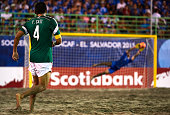 Francisco Cati of Mexico shoots during day six of the CONCACAF Beach Soccer Championships El Salvador 2015 match between Mexico and USA at Estadio...