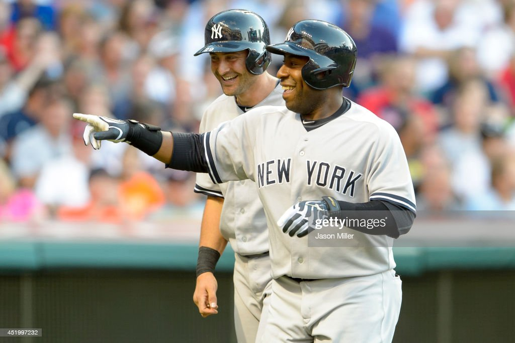 <a gi-track='captionPersonalityLinkClicked' href=/galleries/search?phrase=Francisco+Cervelli&family=editorial&specificpeople=4172506 ng-click='$event.stopPropagation()'>Francisco Cervelli</a> #29 celebrates with Zelous Wheeler #45 of the New York Yankees after Wheeler hit a two run home run during the fourth inning against the Cleveland Indians at Progressive Field on July 10, 2014 in Cleveland, Ohio.