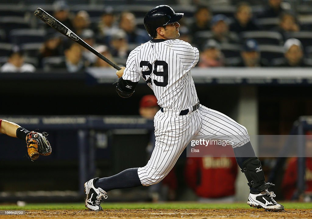 <a gi-track='captionPersonalityLinkClicked' href=/galleries/search?phrase=Francisco+Cervelli&family=editorial&specificpeople=4172506 ng-click='$event.stopPropagation()'>Francisco Cervelli</a> #29 of the New York Yankees hits a home run against the Arizona Diamondbacks on April 18, 2013 at Yankee Stadium in the Bronx borough of New York City.The Arizona Diamondbacks defeated the New York Yankees 6-2 in 12 innings.