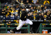 Francisco Cervelli of the Pittsburgh Pirates bats against the Cincinnati Reds on October 2 2015 at PNC Park in Pittsburgh Pennsylvania
