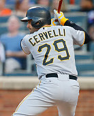 Francisco Cervelli of the Pittsburgh Pirates in action against the New York Mets at Citi Field on August 15 2015 in the Flushing neighborhood of the...