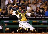 Francisco Cervelli of the Pittsburgh Pirates in action against the Milwaukee Brewers during the game at PNC Park on April 15 2016 in Pittsburgh...