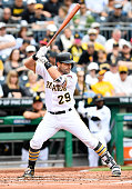 Francisco Cervelli of the Pittsburgh Pirates in action during the game against the Chicago Cubs at PNC Park on May 4 2016 in Pittsburgh Pennsylvania