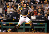 Francisco Cervelli of the Pittsburgh Pirates in action during the game against the Cincinnati Reds at PNC Park on April 29 2016 in Pittsburgh...