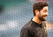Francisco Cervelli of the Pittsburgh Pirates looks on during batting practice prior to the National League Wild Card game against the Chicago Cubs at...