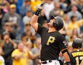 Francisco Cervelli of the Pittsburgh Pirates reacts after hitting a grand slam in the fourth inning during game one of the doubleheader against the...