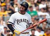 Francisco Cervelli of the Pittsburgh Pirates reacts during an at bat in the fourth inning during the game against the Colorado Rockies at PNC Park on...
