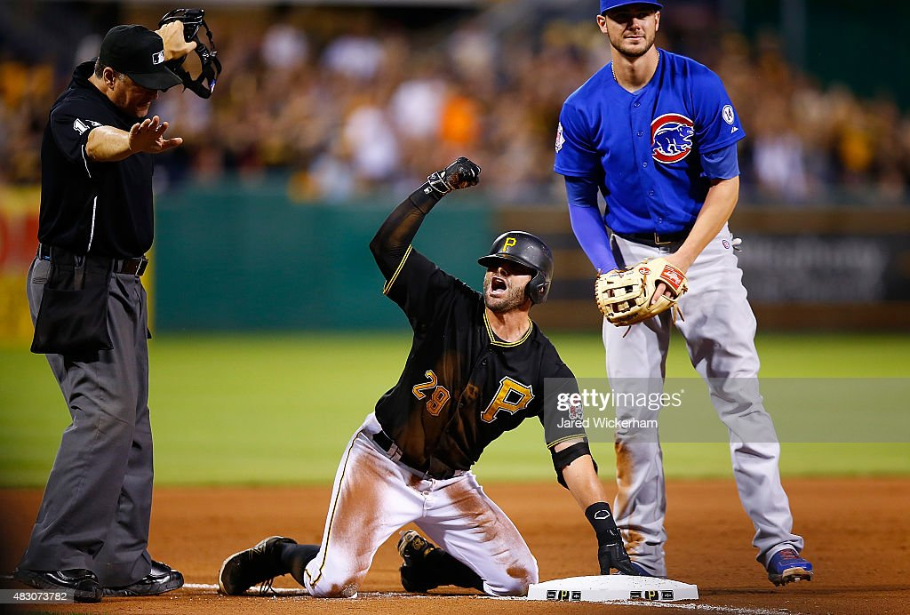 <a gi-track='captionPersonalityLinkClicked' href=/galleries/search?phrase=Francisco+Cervelli&family=editorial&specificpeople=4172506 ng-click='$event.stopPropagation()'>Francisco Cervelli</a> #29 of the Pittsburgh Pirates reacts following his triple in the 8th inning before scoring against the Chicago Cubs during the game at PNC Park on August 5, 2015 in Pittsburgh, Pennsylvania.