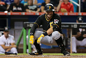 Francisco Cervelli of the Pittsburgh Pirates reacts to a close pitch during a game against the Miami Marlins at Marlins Park on August 24 2015 in...