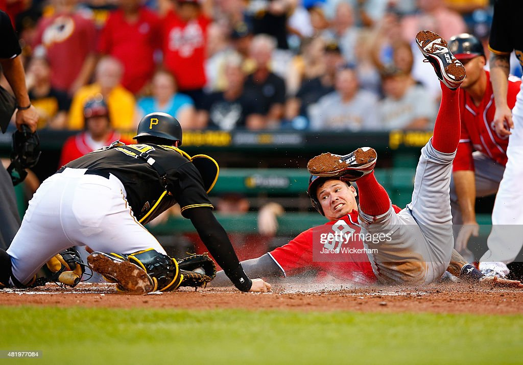 <a gi-track='captionPersonalityLinkClicked' href=/galleries/search?phrase=Francisco+Cervelli&family=editorial&specificpeople=4172506 ng-click='$event.stopPropagation()'>Francisco Cervelli</a> #29 of the Pittsburgh Pirates tags out Jose Lobaton #59 of the Washington Nationals after his attempt on a pop fly in the fourth inning during the game at PNC Park on July 25, 2015 in Pittsburgh, Pennsylvania.