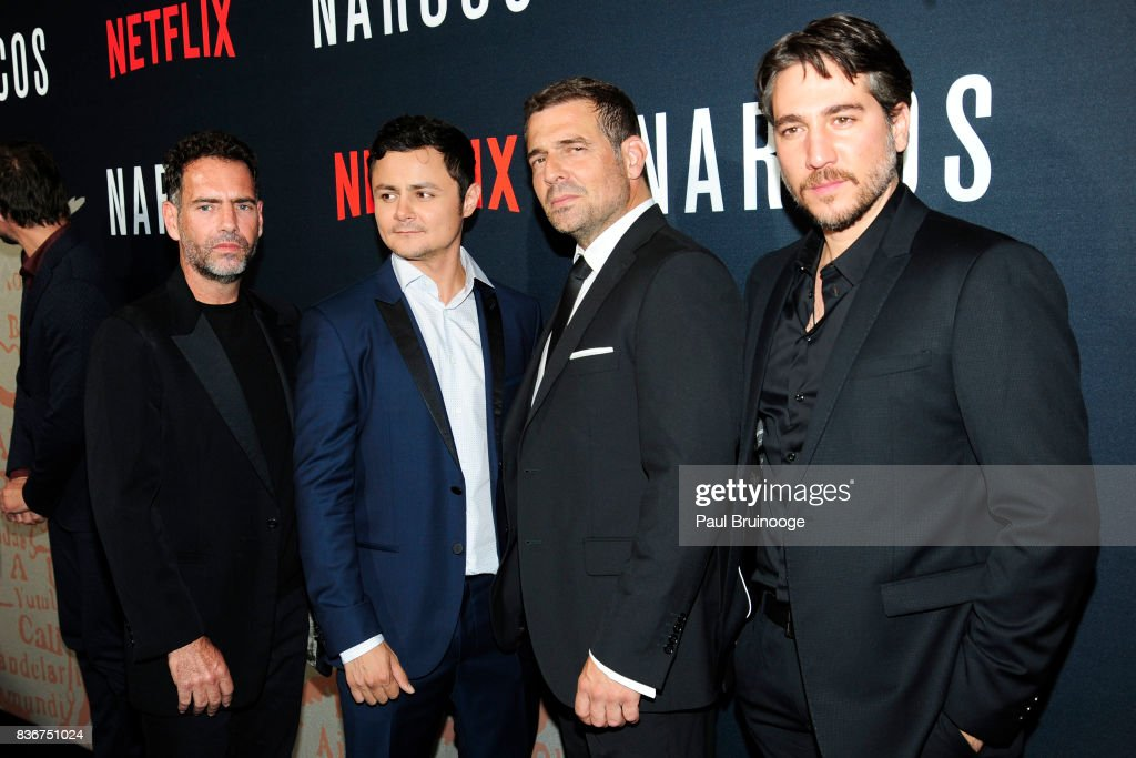 Francisco Denis, Arturo Castro, Pepe Rapazote and Alberto Amann attend 'Narcos' Season 3 New York Screening - Arrivals at AMC Lincoln Square 13 Theater on August 21, 2017 in New York City.