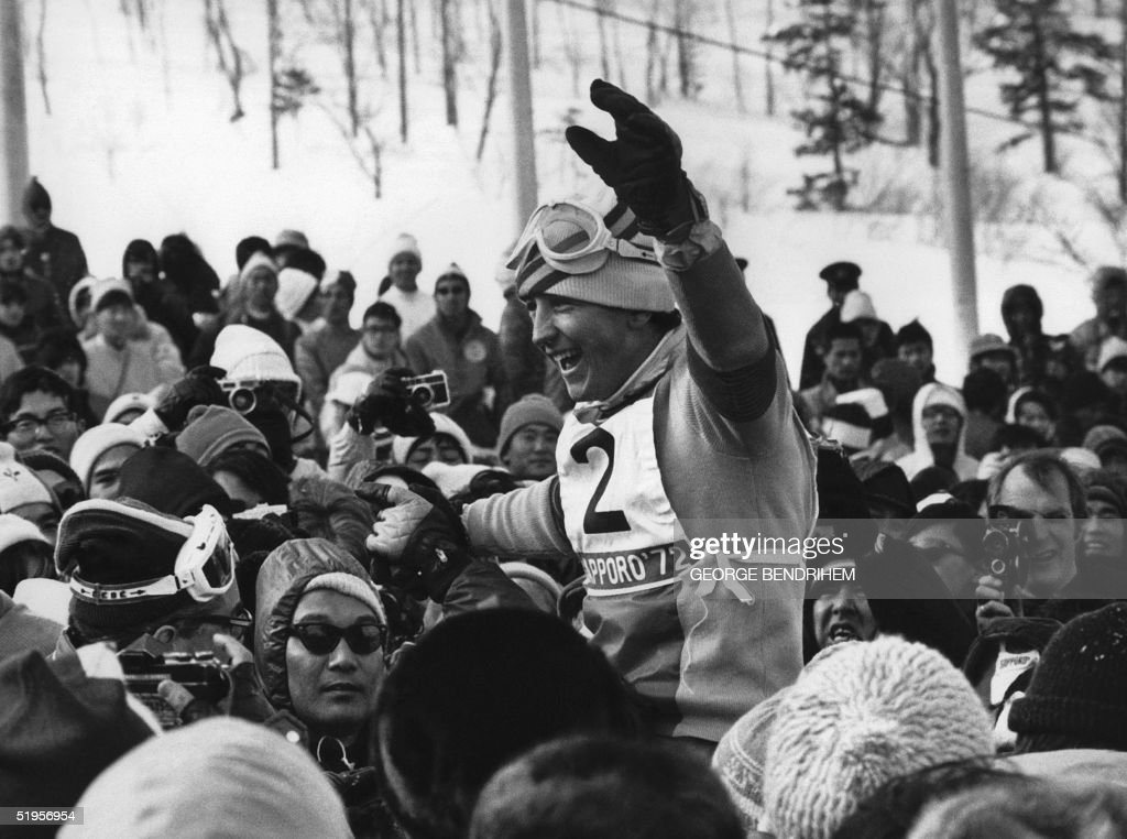 Francisco Fernandez Ochoa from Spain is surrounded by fans as he celebrates his victory in the men's slalom at the Winter Olympic Games 13 February 1972 in Teineyama, near Sapporo. The Spanish skier won the gold medal in front of Italians Gustavo Thoeni (silver) and his cousin Roland Thoeni (bronze). It was Spain's first ever gold medal in the Winter Olympic Games.