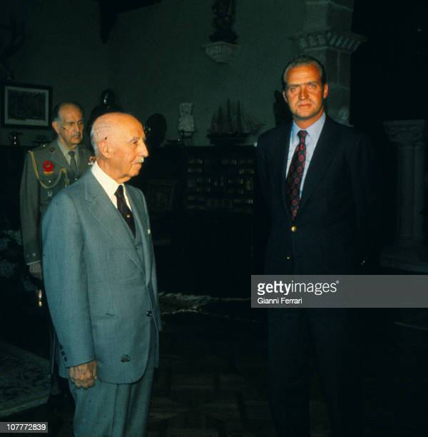 Francisco Franco and Prince Juan Carlos of Borbon at a meeting in A Coruna 1974