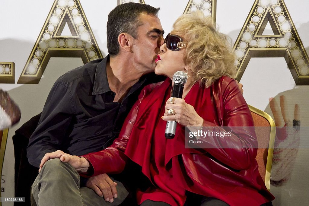 Francisco Franco and Silvia Pinal speak during a press conference of te Mexican film Tercera Llamada at the Maria Isabel Sheraton Hotel on September 30, 2013 in Mexico City, Mexico.
