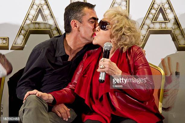 Francisco Franco and Silvia Pinal speak during a press conference of te Mexican film Tercera Llamada at the Maria Isabel Sheraton Hotel on September...
