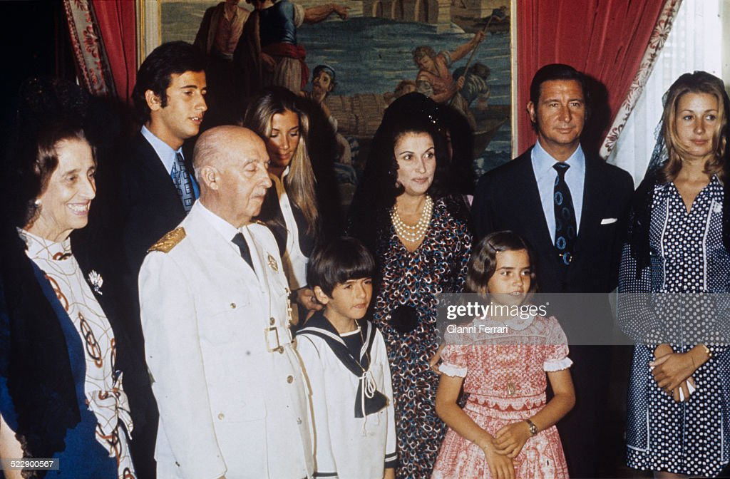 "<a gi-track='captionPersonalityLinkClicked' href=/galleries/search?phrase=Francisco+Franco&family=editorial&specificpeople=190209 ng-click='$event.stopPropagation()'>Francisco Franco</a> in the First Communion of his grandson Jaime. (L to R) Carmen Polo (wife of Franco), Francis Franco, <a gi-track='captionPersonalityLinkClicked' href=/galleries/search?phrase=Francisco+Franco&family=editorial&specificpeople=190209 ng-click='$event.stopPropagation()'>Francisco Franco</a>, Mariola Martinez, Bordiu, Jaime Martinez Bordiu, Carmen Martinez Bordiu (daughter of Franco), Maria Aranzazu Martinez Bordiu, Cristobal Martinez Bordiu and Maria del Carmen Martinez Bordiu in the Chapel of the ""Palacio del Pardo"", 1972, Madrid, Spain. (Photo by Gianni Ferrari/Cover/Getty Images)."
