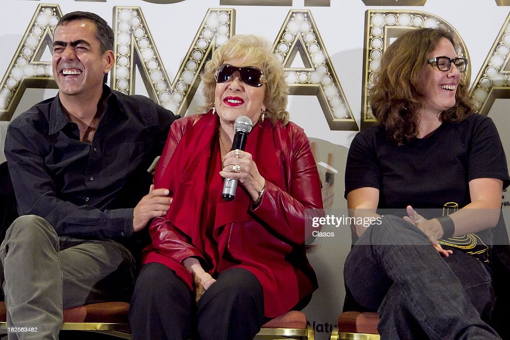 Francisco Franco, Silvia Pinal and Maria Rene Prudencio speak during a press conference of te Mexican film Tercera Llamada at the Maria Isabel Sheraton Hotel on September 30, 2013 in Mexico City, Mexico.