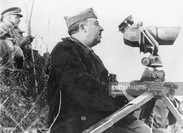 Francisco Franco Spanish general and dictator who governed Spain from 1939 to 1975 watching his troops towards the end of the Spanish Civil War