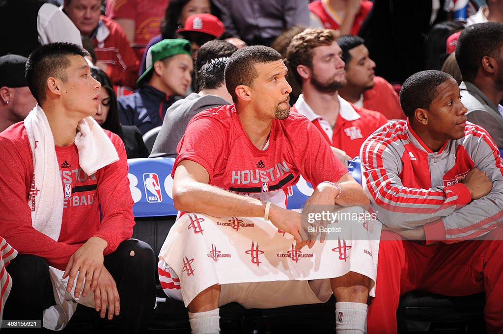 Francisco Garcia #32 of the Houston Rockets sits on the bench during the game against the Oklahoma City Thunder on January 16, 2014 at the Toyota Center in Houston, Texas.