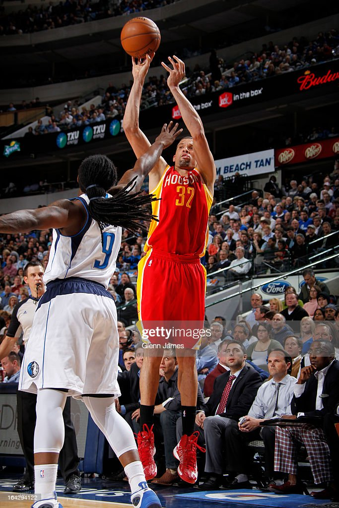 <a gi-track='captionPersonalityLinkClicked' href=/galleries/search?phrase=Francisco+Garcia&family=editorial&specificpeople=198958 ng-click='$event.stopPropagation()'>Francisco Garcia</a> #32 of the Houston Rockets takes a shot against the Dallas Mavericks on March 6, 2013 at the American Airlines Center in Dallas, Texas.