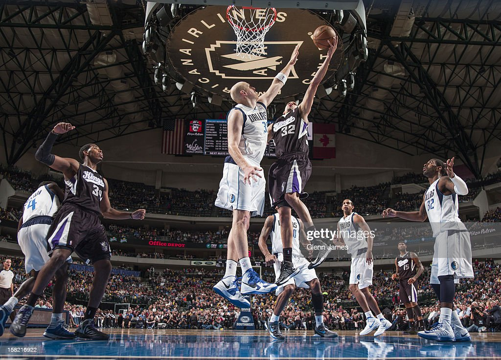 Francisco Garcia #32 of the Sacramento Kings drives to the basket against Chris Kaman #35 of the Dallas Mavericks on December 10, 2012 at the American Airlines Center in Dallas, Texas.