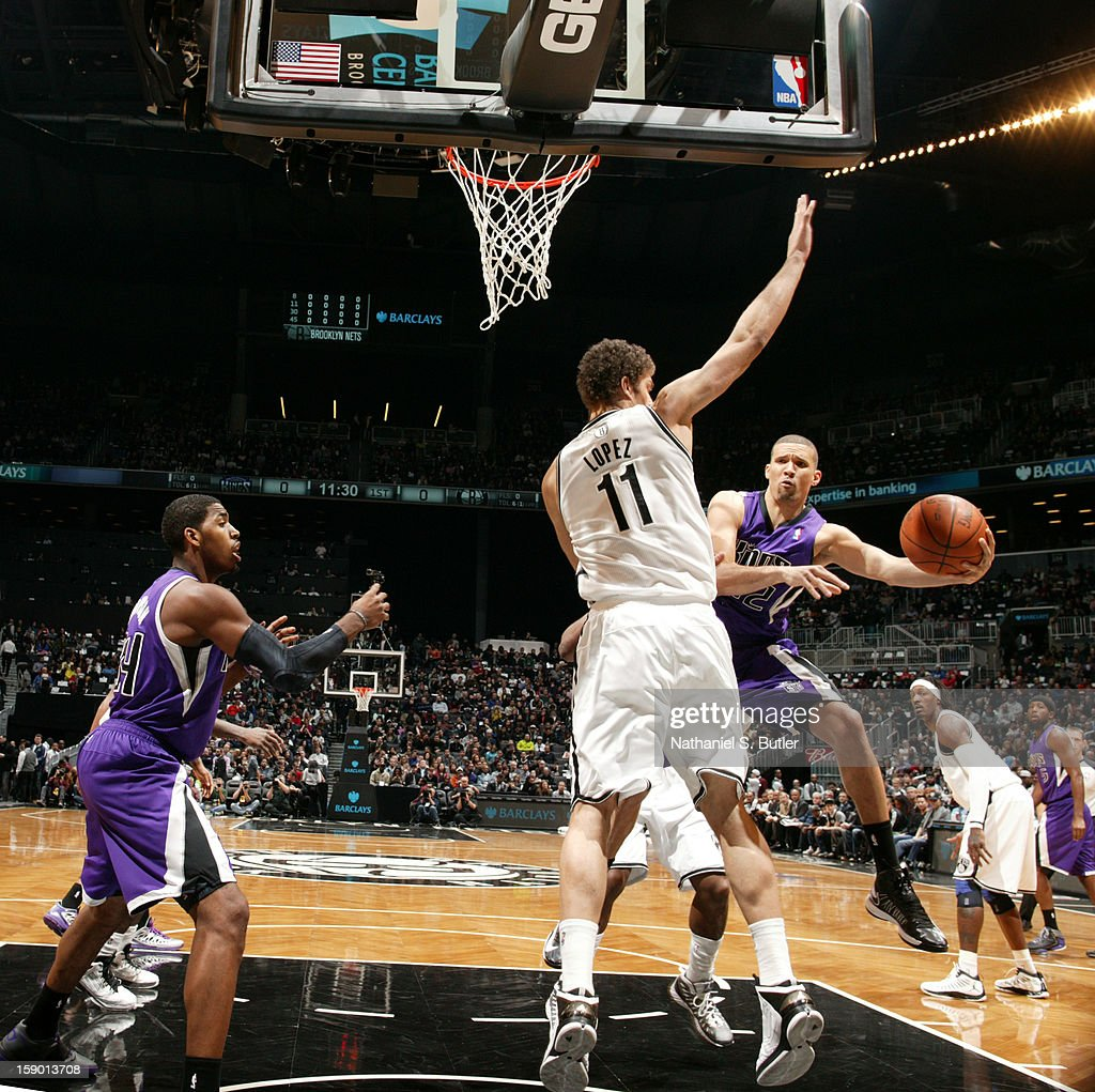 Francisco Garcia #32 of the Sacramento Kings looks to pass against Brook Lopez #11 of the Brooklyn Nets on January 5, 2013 at the Barclays Center in the Brooklyn borough of New York City.