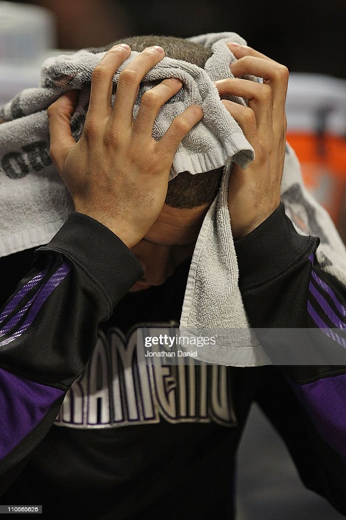 Francisco Garcia #32 of the Sacramento Kings sits on the bench near the end of a game against the Chicago Bulls at the United Center on March 21, 2011 in Chicago, Illinois. The Bulls defeated the Kings 132-92.