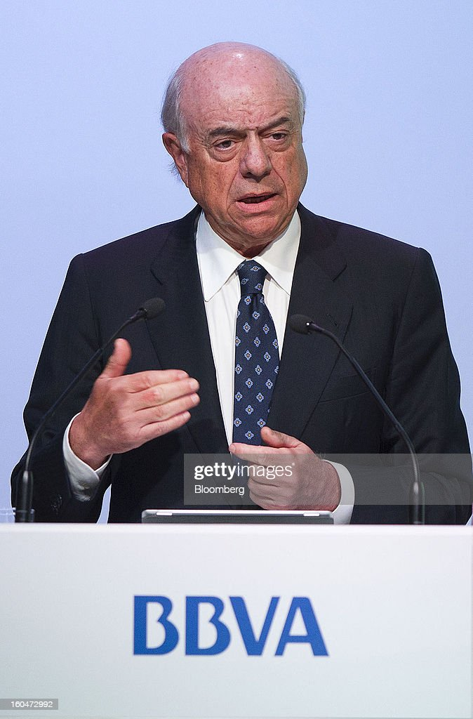 <a gi-track='captionPersonalityLinkClicked' href=/galleries/search?phrase=Francisco+Gonzalez+-+Spanish+Banker&family=editorial&specificpeople=8284524 ng-click='$event.stopPropagation()'>Francisco Gonzalez</a>, chairman of Banco Bilbao Vizcaya Argentaria SA (BBVA), speaks during a news conference to announce the company's fourth-quarter results in Madrid, Spain, on Friday, Feb. 1, 2013. BBVA, Spain's second-biggest bank, posted a 20 million-euro ($27.3 million) fourth-quarter profit as a revenue boost offset costs of completing a cleanup of Spanish real estate assets. Photographer: Angel Navarrete/Bloomberg via Getty Images