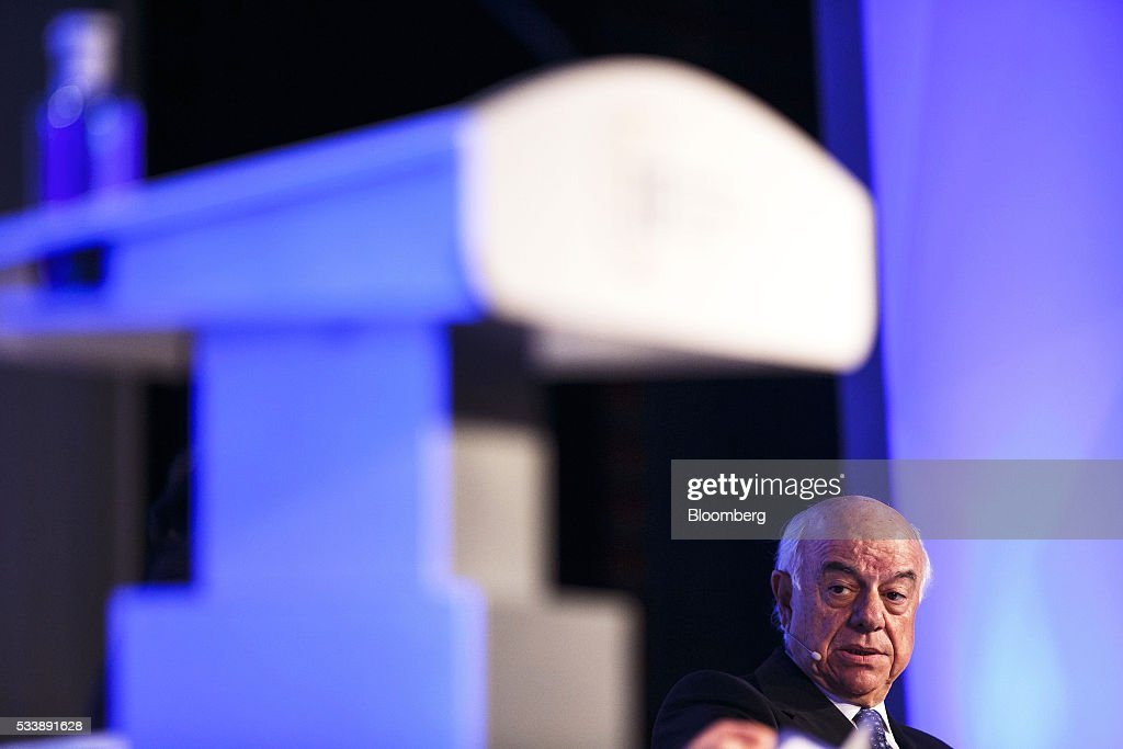 Francisco Gonzalez chairman of Banco Bilbao Vizcaya Argentaria SA speaks during a panel session at the Institute of International Finance's Spring...