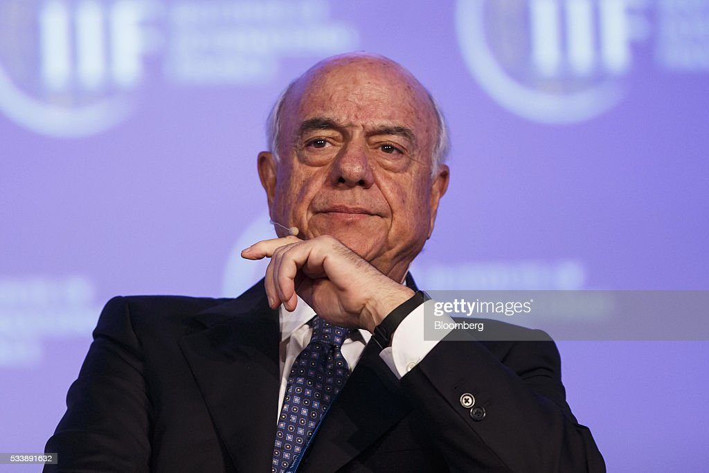 Francisco Gonzalez chairman of Banco Bilbao Vizcaya Argentaria SA pauses during a panel session at the Institute of International Finance's Spring...