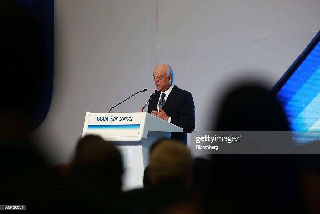Francisco Gonzalez chairman of Banco Bilbao Vizcaya Argentaria SA speaks at the BBVA Bancomer National Directors meeting in Mexico City Mexico on...