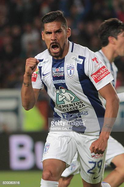Francisco Jara of Pachuca celebrates during Mexican Clausura 2016 Tournament football match against Tigers at the Hidalgo stadium in Pachuca Hidalgo...