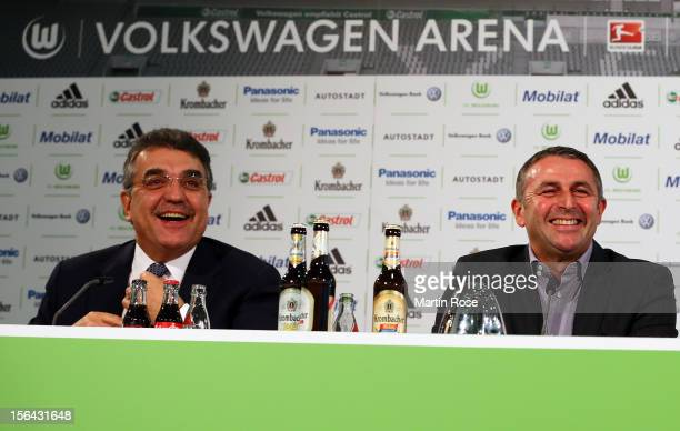 Francisco Javier Garcia Sanz Chairman of Volkswagen Group presents Klaus Allofs as its new sporting director for the current Bundesliga season at...