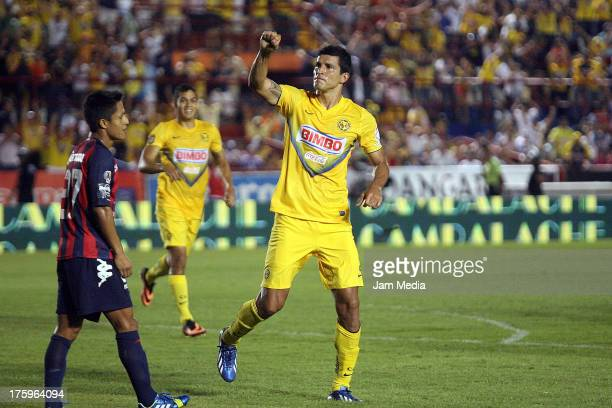 Francisco Javier Rodriguez of America celebrates scored a goal against Atlante during the Apertura 2013 Liga Bancomer MX at Andres Quintana Roo...