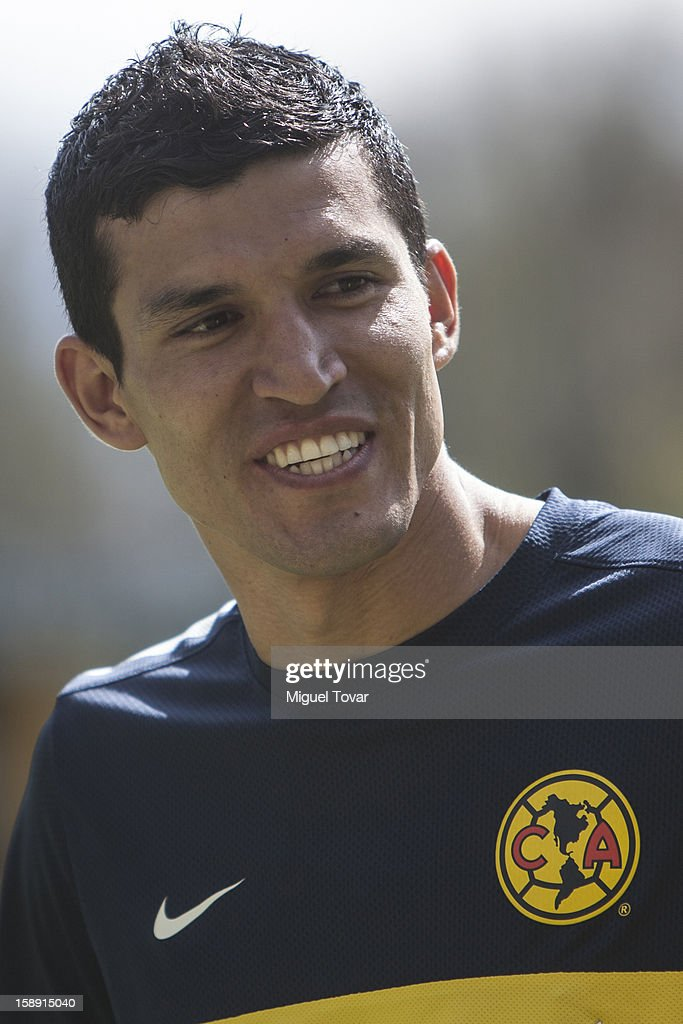Francisco Javier Rodriguez poses during his presentation as a new player of America Futbol Club on January 03, 2012 in Mexico City, Mexico.
