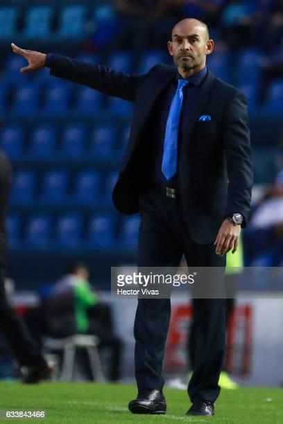 Francisco Jemez Coach of Cruz Azul gives instructions to his players during the 5th round match between Cruz Azul and Queretaro as part of the Torneo...