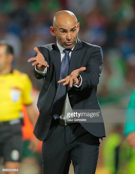 Francisco Jemez coach of Cruz Azul gives instructions to his players during the 6th round match between Santos Laguna and Cruz Azul as part of the...