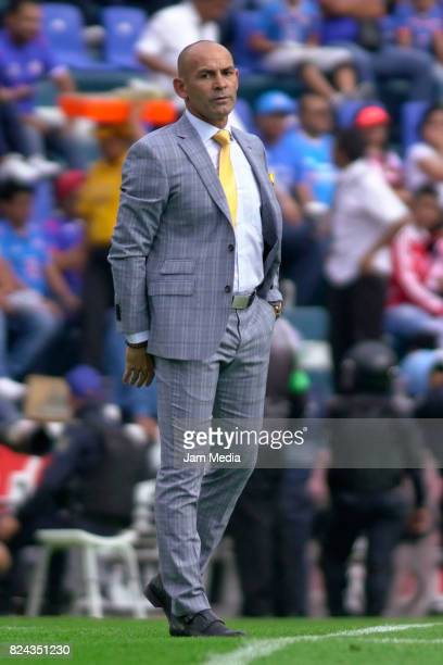 Francisco Jemez Coach of Cruz Azul looks on during the 2nd round match between Cruz Azul and Chivas as part of the Torneo Apertura 2017 Liga MX at...