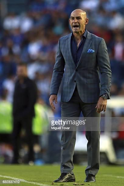 Francisco Jemez coach of Cruz Azul reacts during a match between Cruz Azul and Monterrey as part of the Clausura 2017 Liga MX at Azul Stadium on...