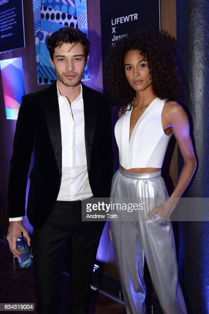 Francisco Lachowski and Cindy Bruna attend The Daily Front Row x LIFEWTR New York Fashion Week opening night at Kola House on February 9 2017 in New...