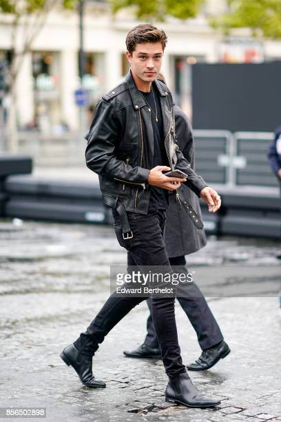 Francisco Lachowski wears a black leather jacket and attends Le Defile L'Oreal Paris as part of Paris Fashion Week Womenswear Spring/Summer 2018 at...