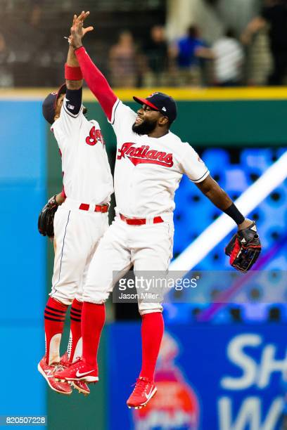 Francisco Lindor and Abraham Almonte of the Cleveland Indians celebrate after the Indians defeated the Toronto Blue Jays at Progressive Field on July...