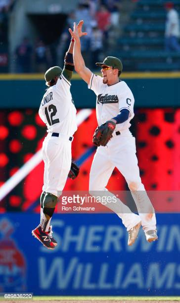 Francisco Lindor and Bradley Zimmer of the Cleveland Indians celebrate a 53 victory over the Oakland Athletics at Progressive Field on May 29 2017 in...