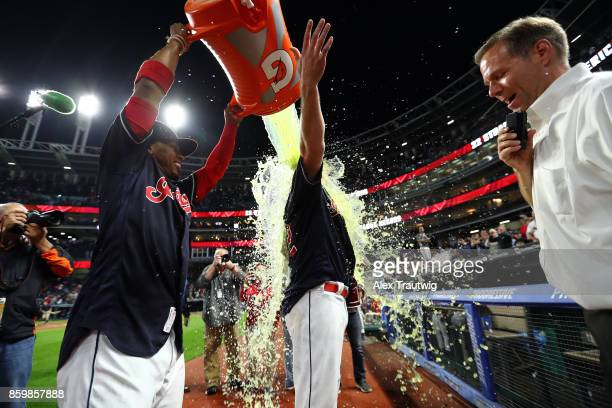 Francisco Lindor dumps Gatorade on Jay Bruce of the Cleveland Indians a 10th inning walkoff double to defeat the Kansas City Royals at Progressive...
