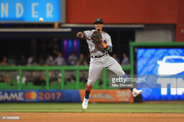 Francisco Lindor of the Cleveland Indians and the American League fields a ball in the tenth inning against the National League during the 88th MLB...