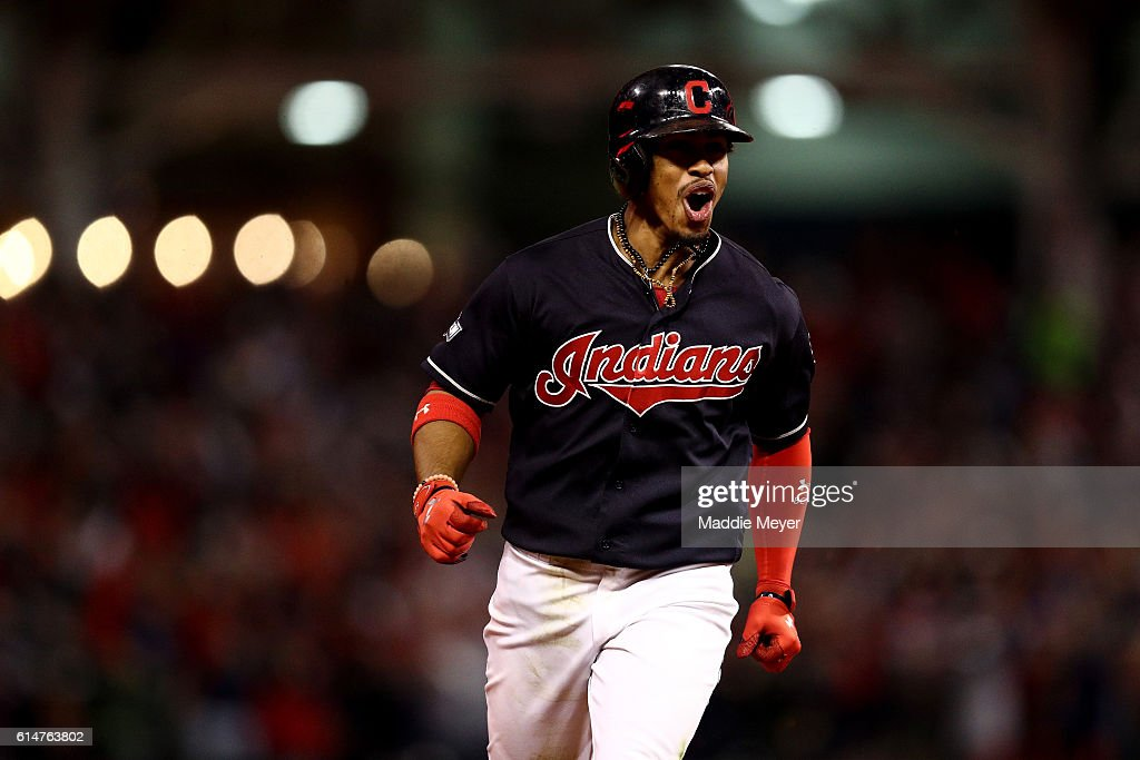 Francisco Lindor #12 of the Cleveland Indians celebrates after hitting a two run home run to right field against Marco Estrada #25 of the Toronto Blue Jays in the sixth inning during game one of the American League Championship Series at Progressive Field on October 14, 2016 in Cleveland, Ohio.