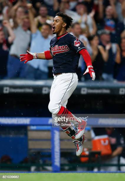 Francisco Lindor of the Cleveland Indians celebrates after hitting a game winning solo home run off Danny Barnes of the Toronto Blue Jays during the...