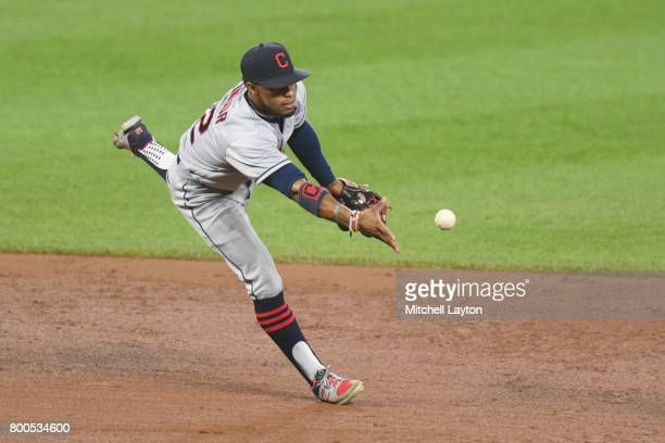 Francisco Lindor of the Cleveland Indians field a ground ball during a baseball game against the Baltimore Orioles at Oriole park at Camden Yards on...