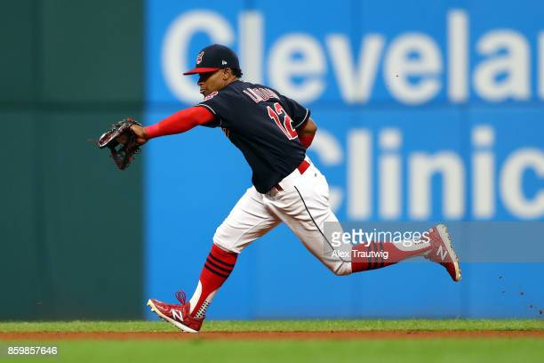 Francisco Lindor of the Cleveland Indians fields a ball during the game against the Kansas City Royals at Progressive field on Thursday September 14...